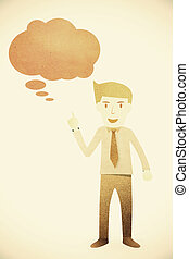 hombre de negocios, con, burbuja, charla, etiqueta, en, papel, plano de fondo