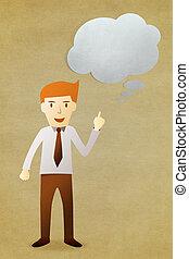 hombre de negocios, con, burbuja, charla, etiqueta