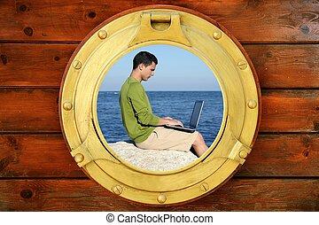 hombre de negocios, con, computadora, barco, vista ventana