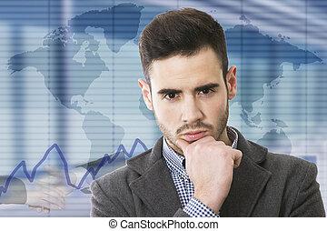 hombre de negocios, con, corporativo, plano de fondo