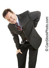 hombre de negocios, con, dolor de espalda
