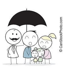 hombre de negocios, con, familia , seguro