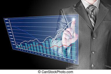 hombre de negocios, con, financiero, símbolos