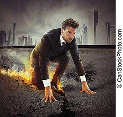 hombre de negocios, con, fuerte, determinación