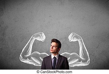 hombre de negocios, con, fuerte, muscled, brazos