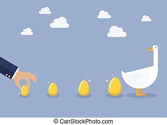 hombre de negocios, con, ganso, y, huevo dorado