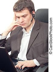 hombre de negocios, con, headset.