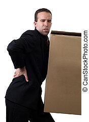 hombre de negocios, con, herido, espalda