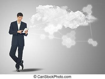 hombre de negocios, con, internet, tableta