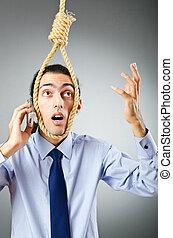 hombre de negocios, con, pensamientos, de, suicidio