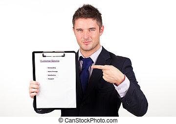 hombre de negocios, con, servicio de cliente, informe
