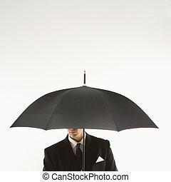 hombre de negocios, con, umbrella.