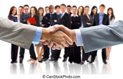 hombre de negocios, con, un, mano abierta, listo, a, sello,...
