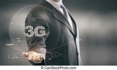hombre de negocios, concepto, 3g, holograma