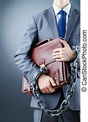 hombre de negocios, concepto, detenido, crimen