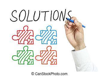 hombre de negocios, concepto, dibujo, soluciones