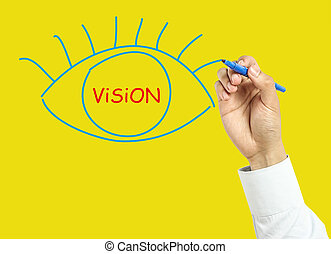 hombre de negocios, concepto, dibujo, visión, mano