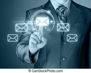 hombre de negocios, concepto, email