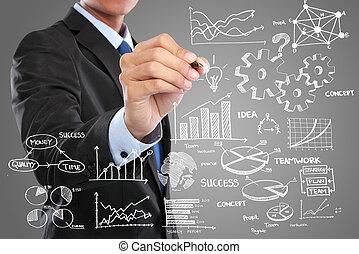 hombre de negocios, concepto, moderno, dibujo, empresa / negocio