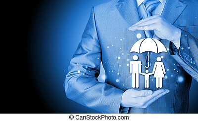 hombre de negocios, concepto, seguro, familia , proteger