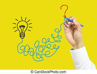 hombre de negocios, concepto, solución, mano, dibujo