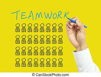 hombre de negocios, concepto, trabajo en equipo, dibujo, mano