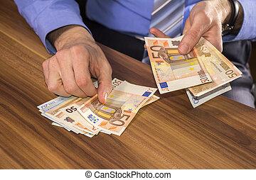 hombre de negocios, condes, euro, dinero