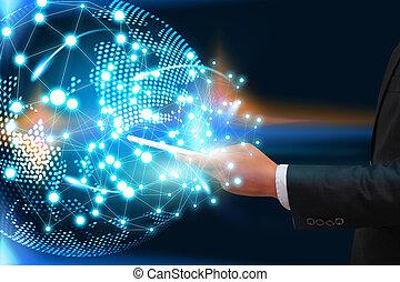 hombre de negocios, conectado, con, el mundo, de, elegante, teléfonos, social, red, concept.