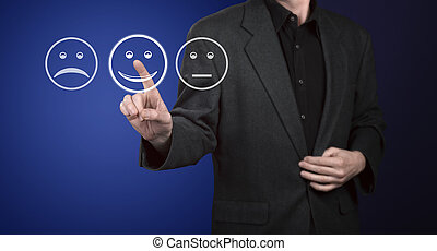 hombre de negocios, conmovedor, pantalla, con, servicio de...