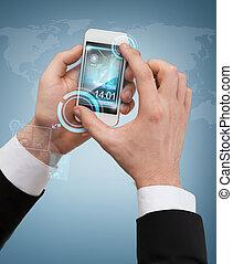 hombre de negocios, conmovedor, pantalla, de, smartphone