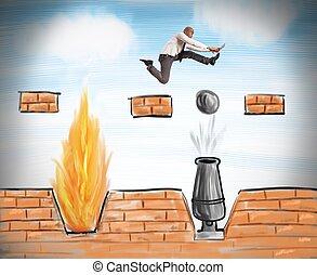 hombre de negocios, corre, obstáculos, venza