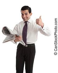 hombre de negocios, corredor de bolsa, con, periódico, pulgares arriba