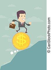 hombre de negocios, corriente, en, un dólar, moneda