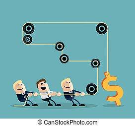 hombre de negocios, dólar, soga, tirar, feliz