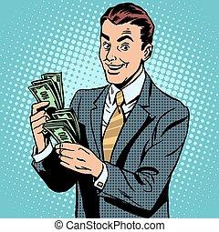 hombre de negocios, dólares, contar, dinero