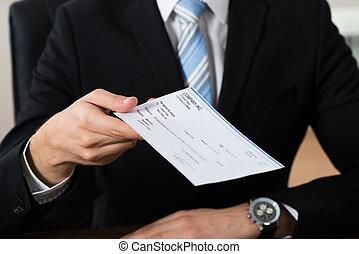 hombre de negocios, dar, cheque