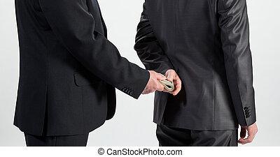 hombre de negocios, dar, un, soborno