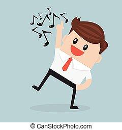 hombre de negocios, de buen humor, el acometer, singing.