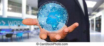 hombre de negocios, de conexión, diferente, lugares, de, el mundo