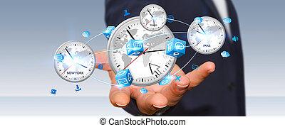 hombre de negocios, de conexión, tiempo, de, el mundo, en, el suyo, mano