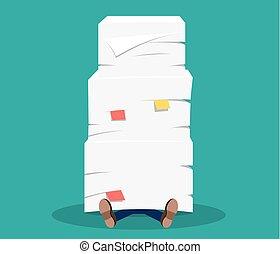 hombre de negocios, debajo, el, apilado de papel