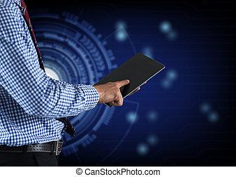 hombre de negocios, dedo, conmovedor, pantalla, de, un, tableta de digital