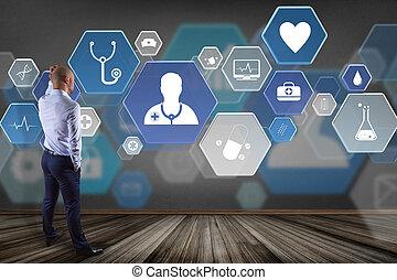 hombre de negocios, delante de, un, pared, con, medecine, y, general, atención sanitaria