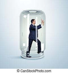 hombre de negocios, dentro, tarro de cristal