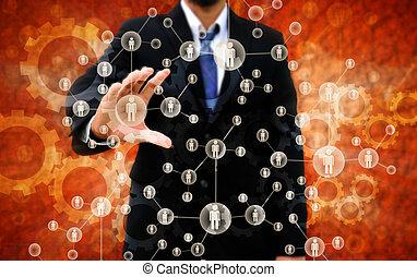 hombre de negocios, derecho, escoger, persona