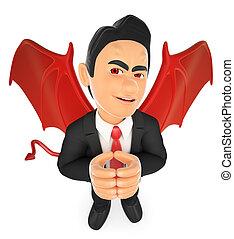 hombre de negocios, diablo, 3d