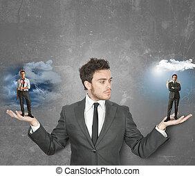 hombre de negocios, diablo, o, ángel