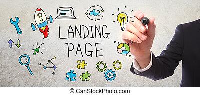 hombre de negocios, dibujo, aterrizaje, página, concepto