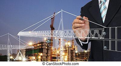 hombre de negocios, dibujo, grúa de torre