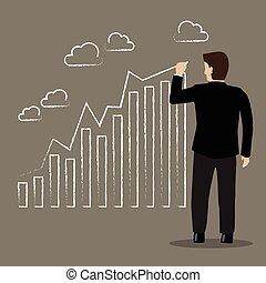hombre de negocios, dibujo, positivo, tendencia, gráfico